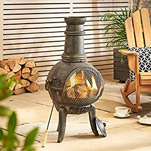 Vonhaus Cast Iron Chiminea - Black Outdoor Garden Patio Heater With A Brushed Bronze Finish 96 X 48cm from VonHaus