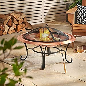 Vonhaus Copper Fire Pit With Spark Guard Poker - Outdoor Fireplace Heater Bowl For Logs Charcoal by VonHaus