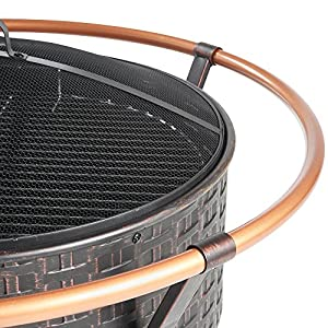 Vonhaus Copper Rim Fire Pit Bowl With Bbq Grill Rack Spark Guard Poker Outdoor Steel Garden Heaterburner For Wood Charcoal from VonHaus