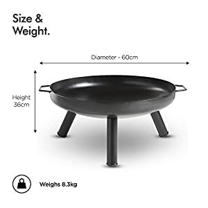 Vonhaus Fire Pit Bowl With 60cm Diameter Portable Carry Handles Outdoor Black Steel Garden Patio Heaterburner For Wood Charcoal by VonHaus