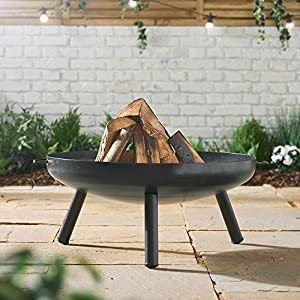 Vonhaus Fire Pit Bowl With 80cm Diameter Portable Carry Handles Outdoor Black Steel Garden Patio Heaterburner For Wood Charcoal by VonHaus
