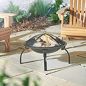 Vonhaus Fire Pit Folding Garden Bbq Bowl Outdoor Camping Log Charcoal Patio Heater Free Carry Bag by VonHaus