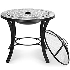 Vonhaus Mosaic Fire Pit Coffee Table With Bbq Grill - Garden Brazier Bowl For Cooking Patio Heating by VonHaus