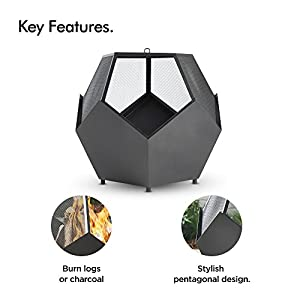 Vonhaus Pentagonal Fire Pit Bowl With Poker Outdoor Black Steel Garden Patio Heaterburner For Wood Charcoal from VonHaus