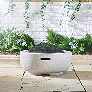 Vonhaus Round Mgo Fire Pitcircular Fire Bowl With Bbq Grill For Outdoorgarden Use from VonHaus