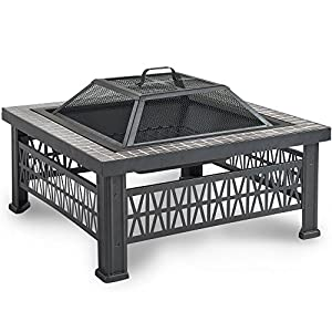 Vonhaus Square Geo Fire Pit Bowl With Grey Tiled Edge Spark Guard Poker Outdoor Black Steel Garden Patio Heaterburner For Wood Charcoal from VonHaus