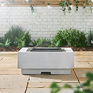 Vonhaus Square Mgo Fire Pit Bowl With Bbq Grill Rack Spark Guard Poker Outdoor Magnesium Oxide Garden Patio Heaterburner For Wood Charcoal by VonHaus
