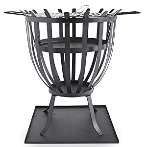 Vonhaus Steel Brazier With Bbq Grill For Logs Charcoal - Outdoor Fire Pit Basket For Heating Cooking from VonHaus