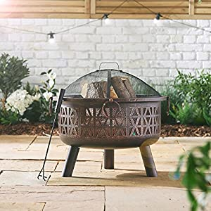 Vonhaus Steel Fire Pit With Spark Guard Poker - Decorative Garden Brazier Bowl For Log Charcoal Patio Heating by VonHaus