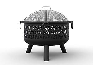 Vonhaus Steel Fire Pit With Spark Guard Poker - Decorative Garden Brazier Bowl For Log Charcoal Patio Heating by VonHaus