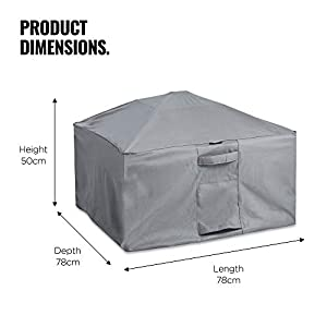 Vonhaus Waterproof Garden Square Firepit Cover - The Storm Collection Premium Heavy Duty Breathable Fabric Protection For L78cm X D78cm X H50cm - Slate Grey by Domu Brands