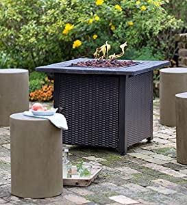 Wicker Propane Gas Fire Pit 762cm Sq X 6096cm H from Plow & Hearth