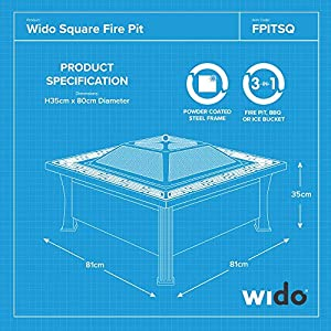Wido Black Garden Patio Square Firepit Heater Outdoor Chimenea Bowl Fire Pit Bbq by Wido