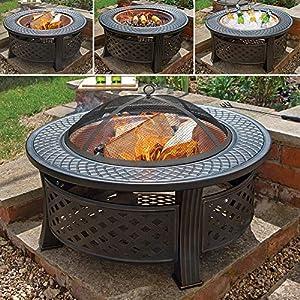 Wido Copper Round Steel Garden Patio Firepit Outdoor Chimenea Bowl Fire Pit Bbq from Wido
