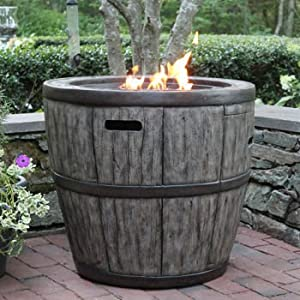 Wine Barrel Gas Fire Table 27 by None