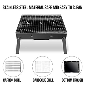 Wostoo Barbecue Charcoal Grill Foldable Bbq Grill Lightweight Camping Stove Fire Pit For Campers Travelers Perfect For Picnics Hiking Beach Camping Outdoor Cooking - Black by WOSTOO