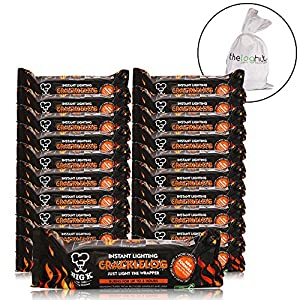 X20 Instant Lighting Crackle Logs - Long Lasting For Summer Fire Pits Chimineas Open Fires Burners - Comes With The Log Hut Woven Sack from The Chemical Hut