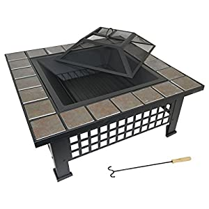 Zanbeel 3 In 1 3in1 Multifunctional Multi-functional Large Square Tiled Firepit Patio Garden Brazier Outdoor Patio Heater Bbq Barbeque Log Bowl Pit Fire Camping Outdoor Mosaic Outfire Heating Wood Chacoal Stove Ice Bucket Firebowl Icebowl from ZANBEEL