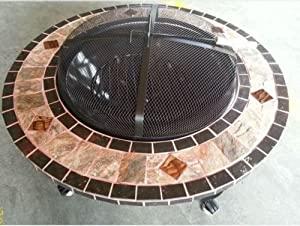 Zanbeel 3 In 1 3in1 Round Tiled Firepit Patio Garden Brazier Outdoor Patio  Heater Bbq Barbeque