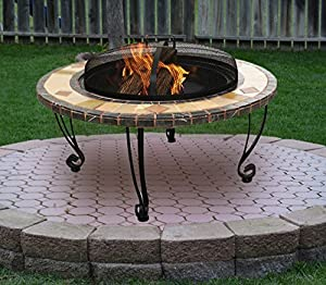 Zanbeel 3 In 1 3in1 Round Tiled Firepit Patio Garden Brazier Outdoor Patio Heater Bbq Barbeque Log Bowl Pit Fire Camping Outdoor Mosaic Outfire Heating Wood Chacoal Stove Ice Bucket Firebowl Icebowl by ZANBEEL