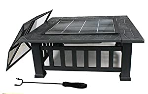 Zeny Outdoor Garden Fire Pit Brazier Square Stove Patio Heater With Free Cover And Poker by Zeny